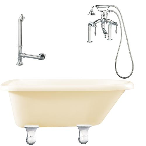 "Giagni LB3-PC-B Brighton 60"" Bisque Roll Top Tub with Cannonball Feet,  Drain, Supply Lines and Deck Mount Faucet with Hand Shower and Lever Handles, Polished Chrome"