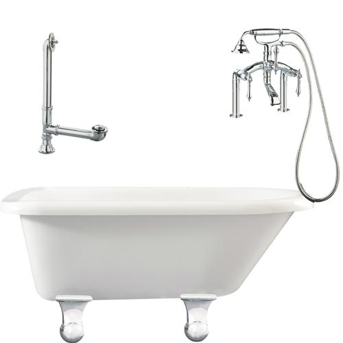 "Giagni LB3-PC Brighton 60"" White Roll Top Tub with Cannonball Feet, Drain, Supply Lines and Deck Mount Faucet with Hand Shower and Lever Handles, Polished Chrome"