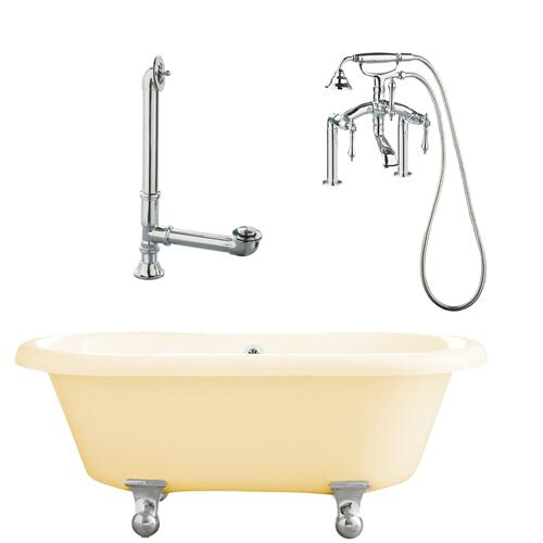 "Giagni LP3-PC-B Portsmouth 60"" Bisque Dual Tub with Cannonball Feet, Drain, Supply Lines and Deck Mount Faucet with Hand Shower and Lever Handles, Polished Chrome"