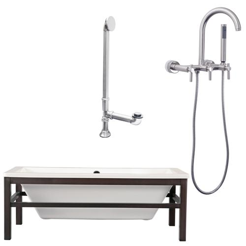 "Giagni LT1-BN Tella 67"" White Tub Wengé  Finish Wood Cradle, Drain and Wall Mount Faucet with Hand Shower and Lever Handles, Brushed Nickel"
