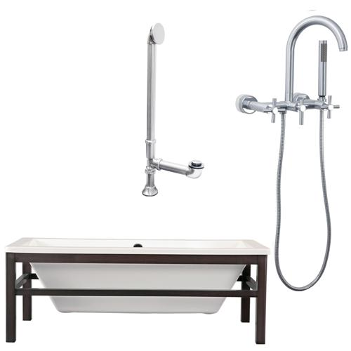 "Giagni LT1-C-BN Tella 67"" White Tub Wengé  Finish Wood Cradle, Drain and Wall Mount Faucet with Hand Shower and Cross Handles, Brushed Nickel"