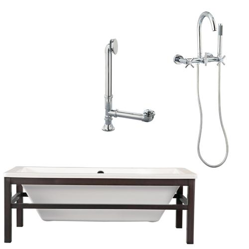 "Giagni LT1-C-PC Tella 67"" White Tub Wengé  Finish Wood Cradle, Drain and Wall Mount Faucet with Hand Shower and Cross Handles, Polished Chrome"