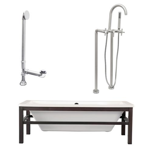 "Giagni LT2-C-BN Tella 67"" White Tub with Wengé  Finish Wood Cradle, Drain, Support Brace and Floor Mount Faucet with Hand Shower and Cross Handles, Brushed Nickel"