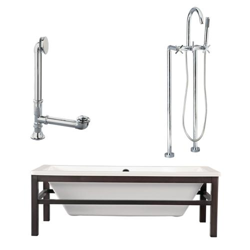 "Giagni LT2-C-PC Tella 67"" White Tub with Wengé  Finish Wood Cradle, Drain, Support Brace and Floor Mount Faucet with Hand Shower and Cross Handles, Polished Chrome"