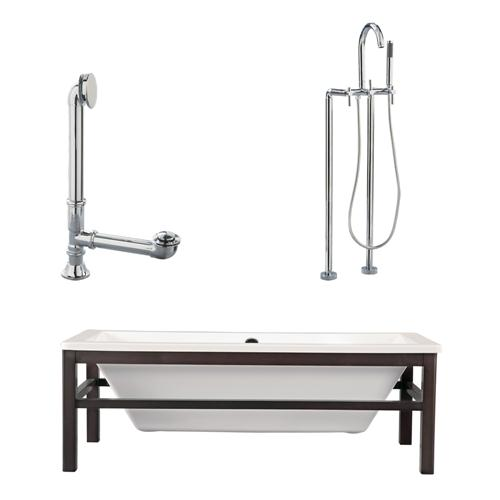 "Giagni LT2-PC Tella 67"" White Tub with Wengé  Finish Wood Cradle, Drain, Support Brace and Floor Mount Faucet with Hand Shower and Lever Handles, Polished Chrome"