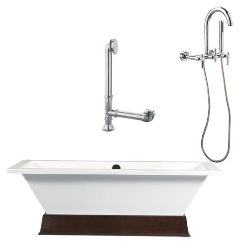 "Giagni LT3-PC 67"" White Rectangle Contemporary Tub with Wengé Finish Wood Plinth, Drain and Wall Mount Faucet with Lever Handles, Polished Chrome"