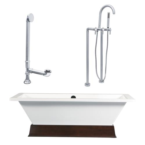"Giagni LT4-BN 67"" White Rectangle Contemporary Tub with Wengé Finish Wood Plinth, Drain and Floor Mount Faucet with Lever Handles, Brushed Nickel"