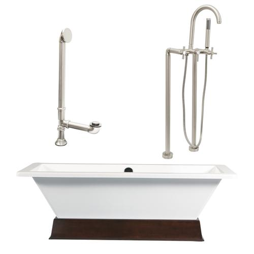 "Giagni LT4-C-BN Giagni,67"" White Rectangle Contemporary Tub with Wengé Finish Wood Plinth,  Drain, Support Brace and Floor Mount Faucet with Cross Handles, Brushed Nickel"