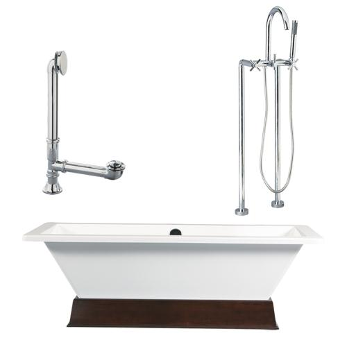 "Giagni LT4-C-PC Giagni,67"" White Rectangle Contemporary Tub with Wengé Finish Wood Plinth,  Drain, Support Brace and Floor Mount Faucet with Cross Handles, Polished Chrome"