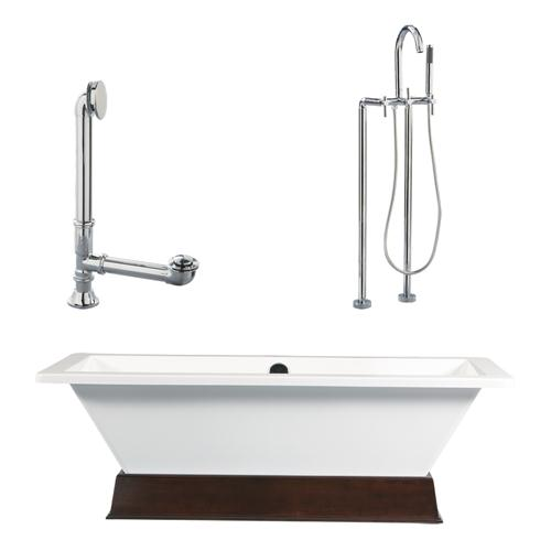 "Giagni LT4-PC 67"" White Rectangle Contemporary Tub with Wengé Finish Wood Plinth, Drain and Floor Mount Faucet with Lever Handles, Polished Chrome"