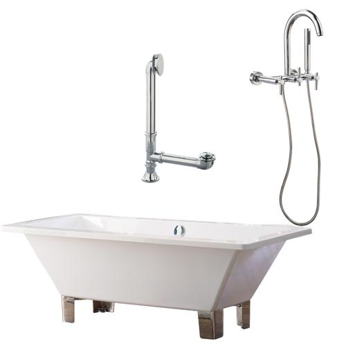"Giagni LT5-PC 67"" White Rectangle Contemporary Tub with Chrome Feet, Drain and Wall Mount Faucet with Lever Handles"