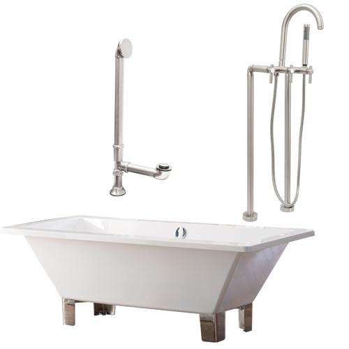 "Giagni LT6-BN 67"" White Rectangle Contemporary Tub with Brushed Nickel Feet, Drain and Floor Mount Faucet with Lever Handles"