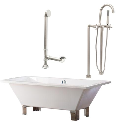 "Giagni LT6-C-BN 67"" White Rectangle Contemporary Tub with Brushed Nickel Feet, Drain and Floor Mount Faucet with Cross Handles"