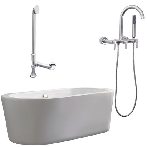 """Giagni LV1-BN Ventura 67"""" White Apron Tub with Drain and Wall Mount Faucet with Hand Shower and Lever Handles, Brushed Nickel"""