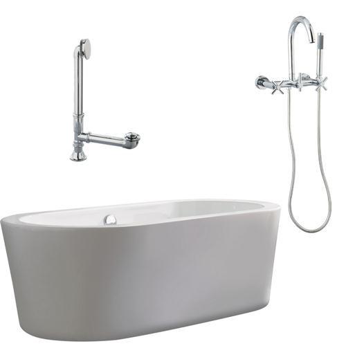 """Giagni LV1-C-PC Ventura 67"""" White Apron Tub with Drain and Wall Mount Faucet with Hand Shower and cross handles, Polished Chrome"""