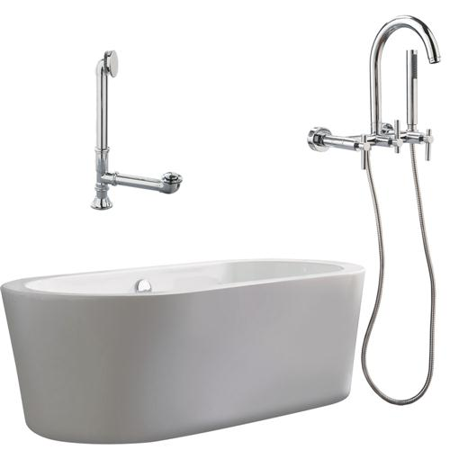 """Giagni LV1-PC Ventura 67"""" White Apron Tub with Drain and Wall Mount Faucet with Hand Shower and Lever Handles, Polished Chrome"""