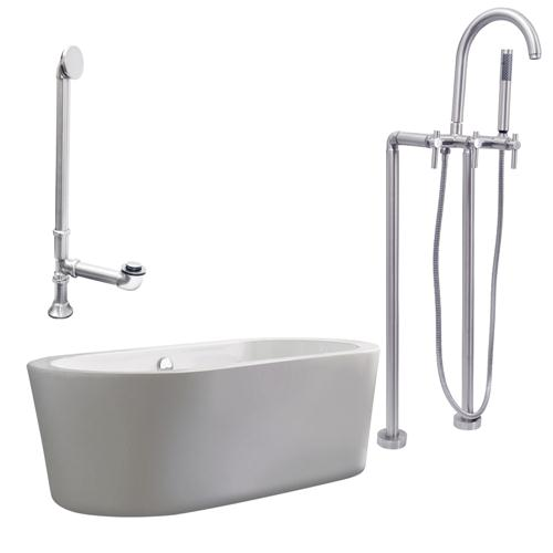 "Giagni LV2-BN Ventura 67"" White Apron Tub with, Drain and Floor Mount Faucet with Lever Handles, Brushed Nickel"