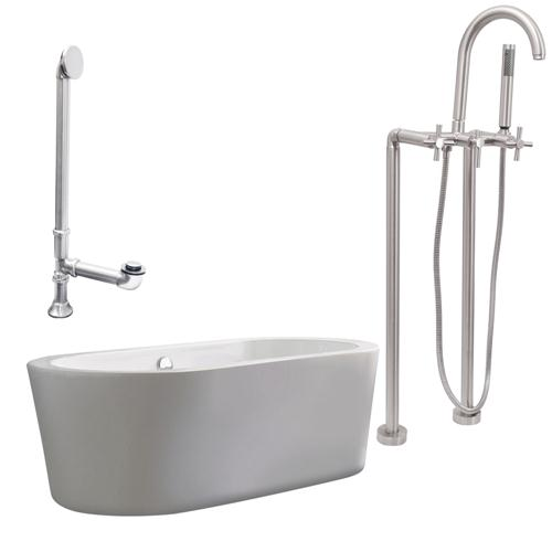 "Giagni LV2-C-BN Ventura 67"" White Apron Tub with, Drain and Floor Mount Faucet with Cross Handles, Brushed Nickel"