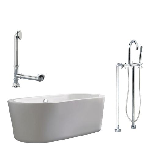 """Giagni LV2-C-PC Ventura 67"""" White Apron Tub with, Drain and Floor Mount Faucet with Cross Handles, Polished Chrome"""