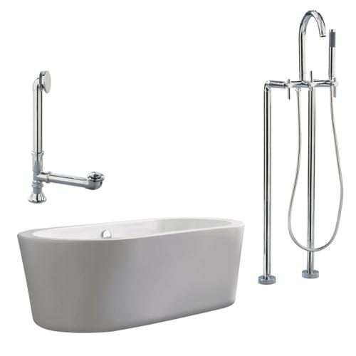 """Giagni LV2-PC Ventura 67"""" White Apron Tub with, Drain and Floor Mount Faucet with Lever Handles, Polished Chrome"""