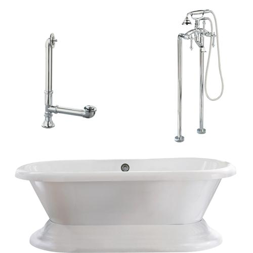 "Giagni LW2-PC Wescott 72"" White Dual Tub with Plinth, Drain, Support Brace and Floor Mount Faucet with Hand Shower and Lever Handles, Polished Chrome"
