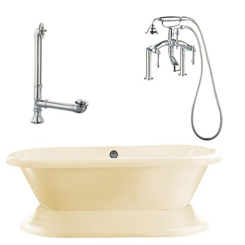 """Giagni LW3-PC-B Wescott 72"""" Bisque Dual Tub with Plinth, Lever Handles, Deck Mount Faucet with Hand Shower, Deck Risers, Drain and Supply Lines, Polished Chrome"""