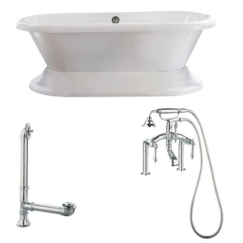 "Giagni LW3-PC Wescott 72"" White Dual Tub with Plinth, Lever Handles, Deck Mount Faucet with Hand Shower, Deck Risers, Drain and Supply Lines, Polished Chrome"