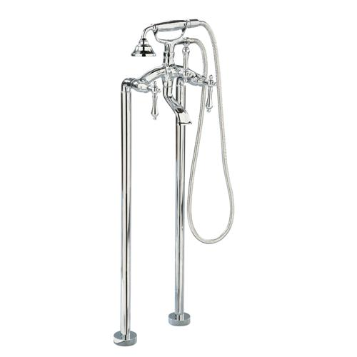 Giagni TFTF-PC Floor Mount Tub Faucet with Metal Lever Handles, Polished Chrome