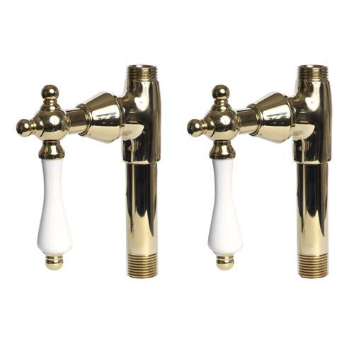 Giagni U-DVLV-PL-MB Straight Stops with Porcelain Lever Handles, for Deck Mount Faucet, Millennium Brass