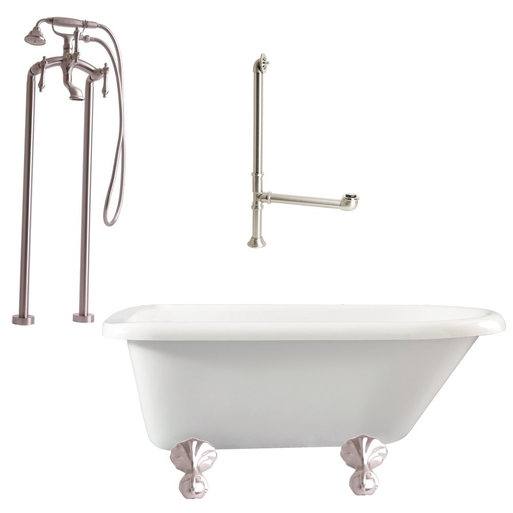 "Giagni LA2-BN Augusta 54"" Roll Top Tub Kit White, with Ball & Claw Feet, Drain, Supply Lines, Support Brace and Floor Mount Faucet with Lever Handles, Brushed Nickel"