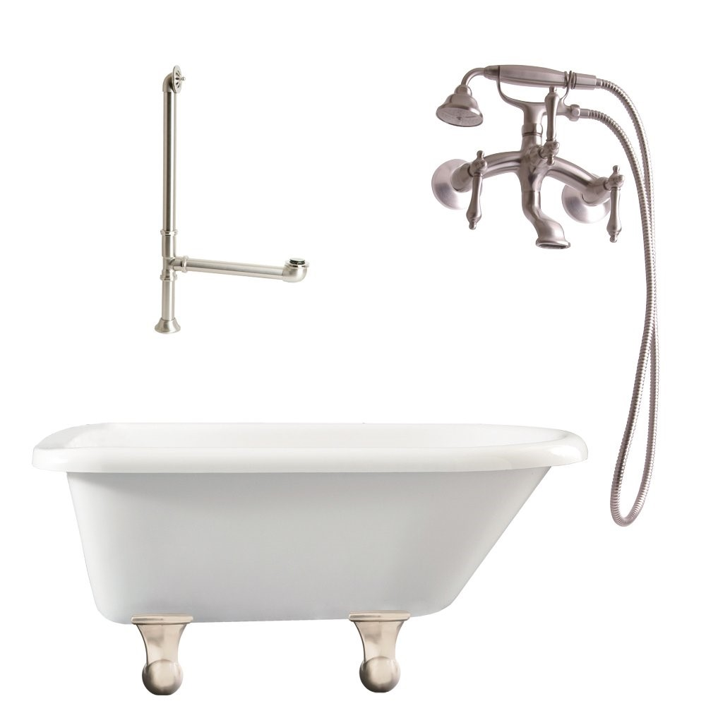 "Giagni LB1-BN Brighton 60"" White Roll Top Tub with Cannonball Feet, Drain, and Wall Mount Faucet with Hand Shower and Lever Handles, Brushed Nickel"