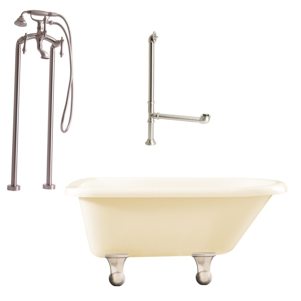 "Giagni LB2-BN-B Brighton 60"" Bisque Roll Top Tub with Cannonball Feet, Drain, Support Brace, and Floor Mount Faucet with Hand Shower and Lever Handles, Brushed Nickel"