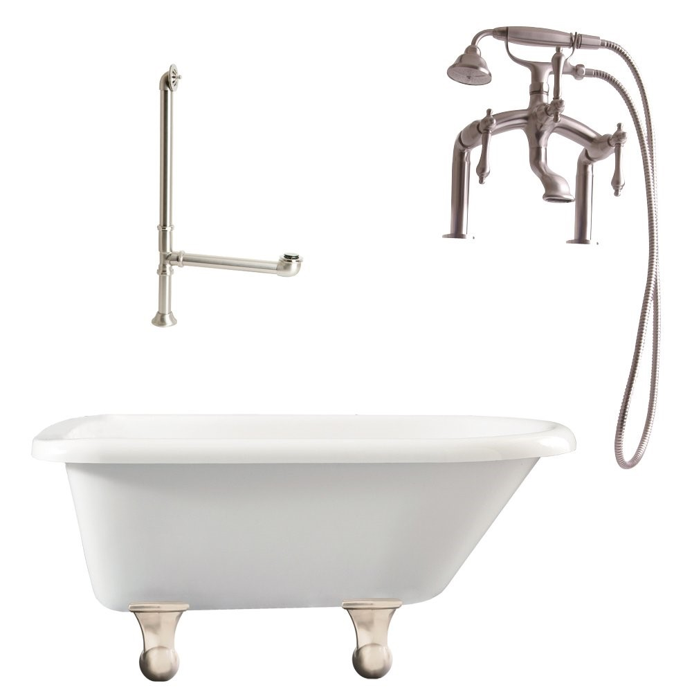 "Giagni LB3-BN Brighton 60"" White Roll Top Tub with Cannonball Feet, Drain, Supply Lines and Deck Mount Faucet with Hand Shower and Lever Handles, Brushed Nickel"