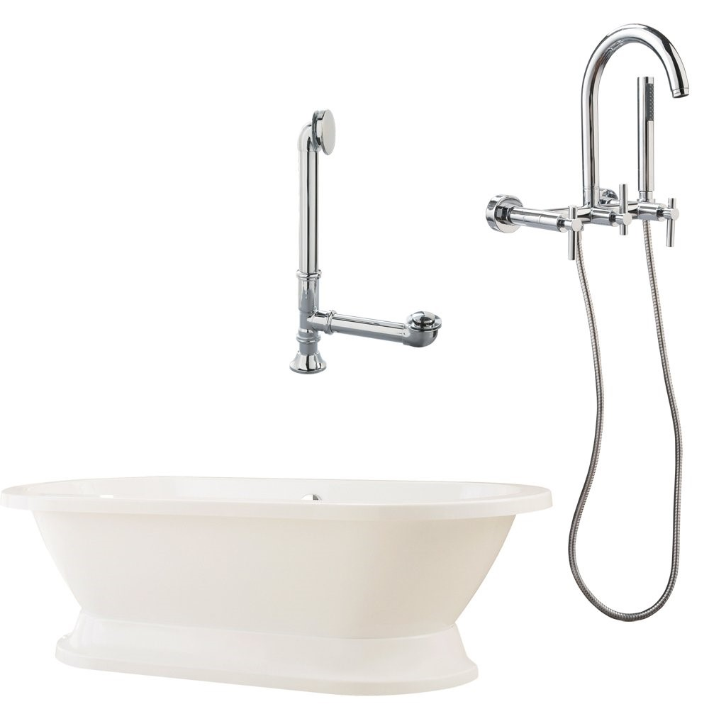"Giagni LC1-C-BN Capri 67"" White Tub with Plinth, Drain and Wall Mount Faucet with Hand Shower and Cross Handles, Brushed Nickel"