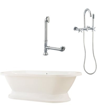 "Giagni LC1-C-PC Capri 67"" White Tub with Plinth, Drain and Wall Mount Faucet with Hand Shower and Cross Handles, Polished Chrome"