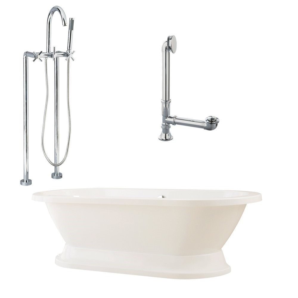 "Giagni LC2-C-PC Capri 67"" White Tub with Plinth, Drain, Supply Lines, and Floor Mount Faucet with Hand Shower and Cross Handles, Polished Chrome"