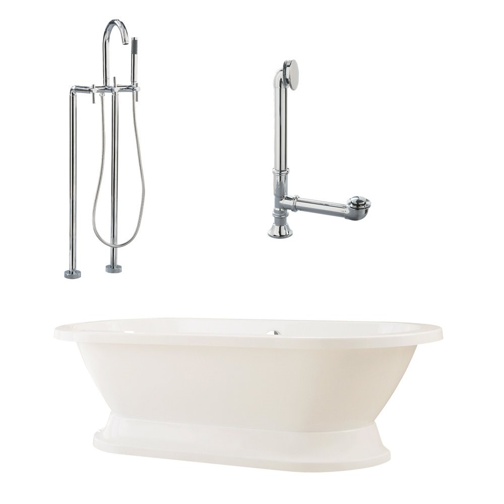"Giagni LC2-PC Capri 67"" White Tub with Plinth, Drain, Supply Lines, and Floor Mount Faucet with Hand Shower and Lever Handles, Polished Chrome"