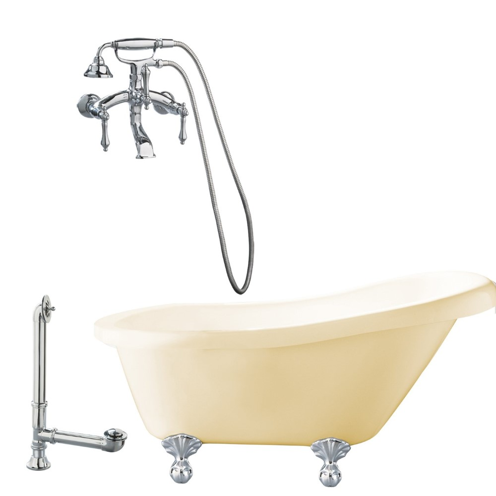 "Giagni LH1-PC-B Hawthorne 60"" Bisque Slipper Tub with  Ball and Claw Feet, Drain, and Wall Mount Faucet with Hand Shower and Lever Handles, Polished Chrome"