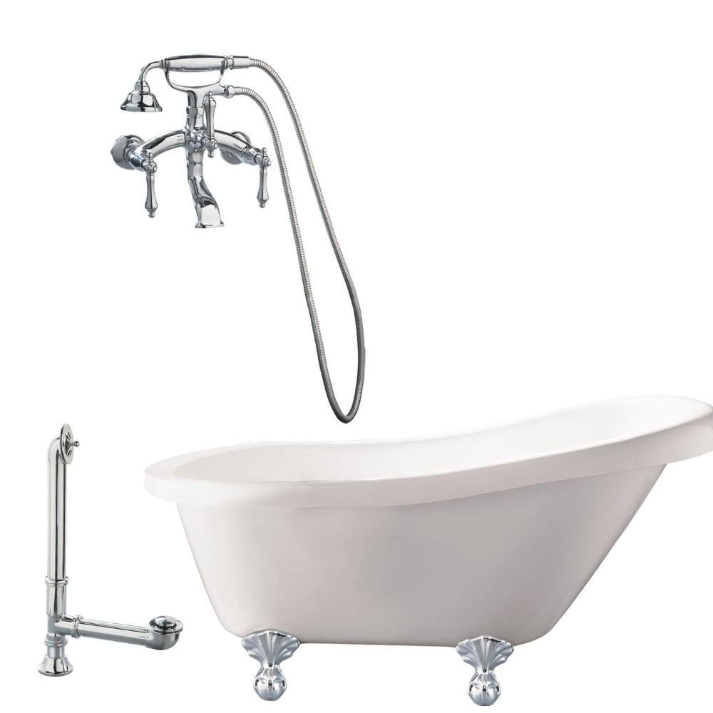 "Giagni LH1-PC  Hawthorne 60"" White Slipper Tub with  Ball and Claw Feet, Drain, and Wall Mount Faucet with Hand Shower and Lever Handles, Polished Chrome"