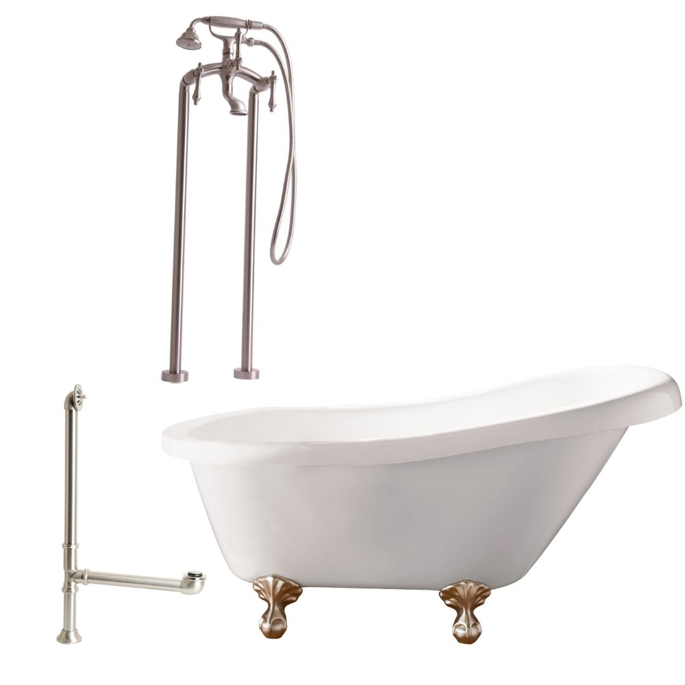 "Giagni LH2-BN Hawthorne 60"" White Slipper Tub with  Ball and Claw Feet, Drain, Support Brace and Floor Mount Faucet with Hand Shower and Lever Handles, Brushed Nickel"