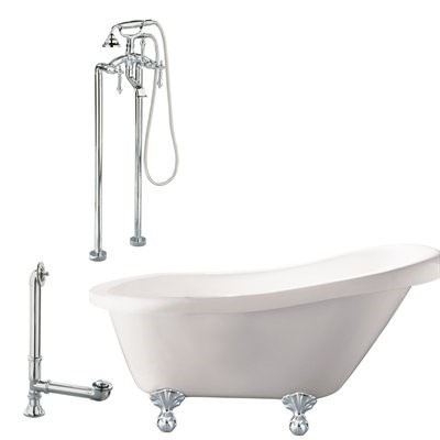 "Giagni LH2-PC Hawthorne 60"" White Slipper Tub with  Ball and Claw Feet, Drain, Support Brace and Floor Mount Faucet with Hand Shower and Lever Handles, Polished Chrome"