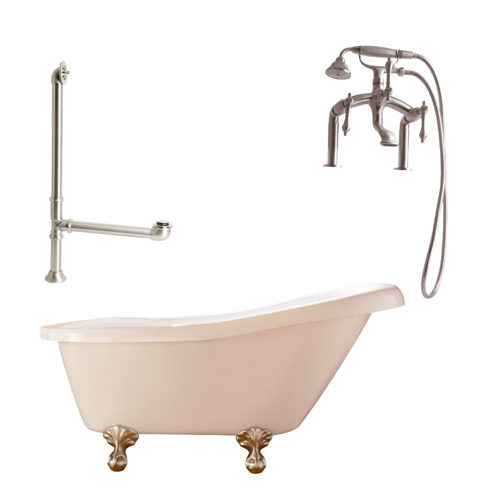 "Giagni LH3-BN Hawthorne 60"" White Slipper Tub with Ball and Claw Feet, Drain, Supply Lines and Deck Mount Faucet with Hand Shower and Lever Handles, Brushed Nickel"