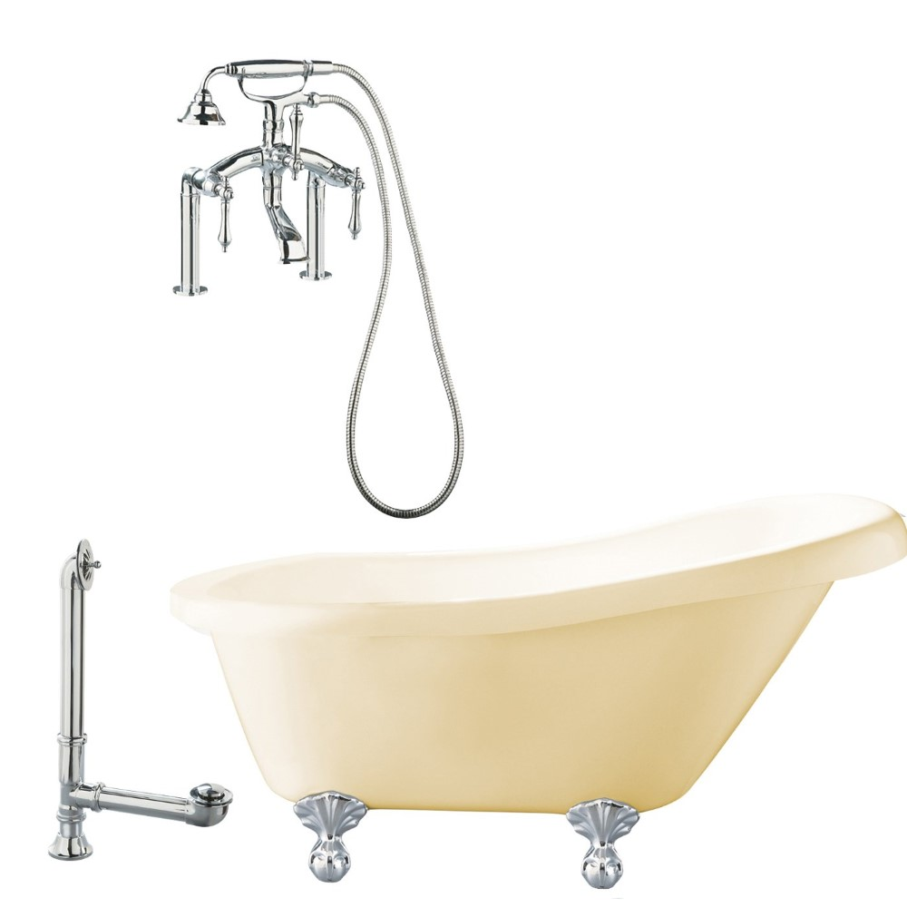 "Giagni LH3-PC-B Hawthorne 60"" Bisque Slipper Tub with Ball and Claw Feet, Drain, Supply Lines and Deck Mount Faucet with Hand Shower and Lever Handles, Polished Chrome"