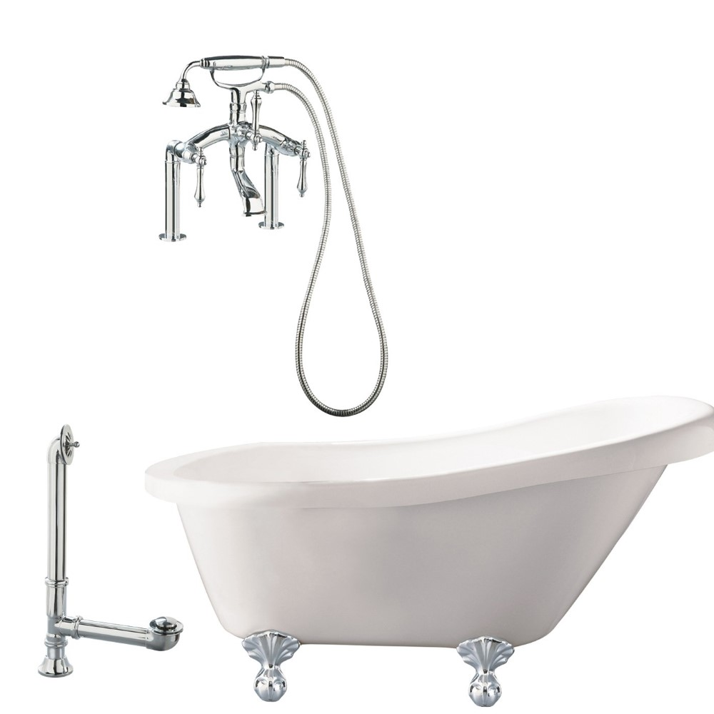 "Giagni LH3-PC Hawthorne 60""  White Slipper Tub with Ball and Claw Feet, Drain, Supply Lines and Deck Mount Faucet with Hand Shower and Lever Handles, Polished Chrome"