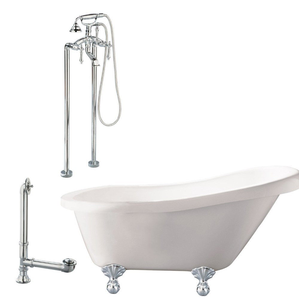 "Giagni LN2-PC Newton 67"" White Slipper Tub with Ball and Claw Feet, Drain, Support brace and Floor Mount Faucet with Hand Shower and Lever Handles, Polished Chrome"