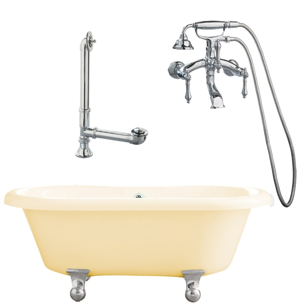 "Giagni LP1-PC-B Portsmouth 60"" Bisque Dual Tub with Cannonball Feet, Drain and Wall Mount Faucet with Hand Shower and Lever Handles, Polished Chrome"