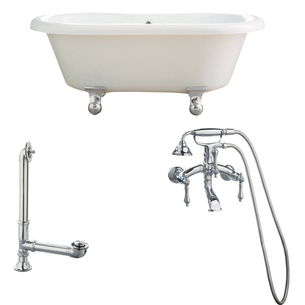 "Giagni LP1-PC Portsmouth 60"" White Dual Tub with Cannonball Feet, Drain and Wall Mount Faucet with Hand Shower and Lever Handles, Polished Chrome"