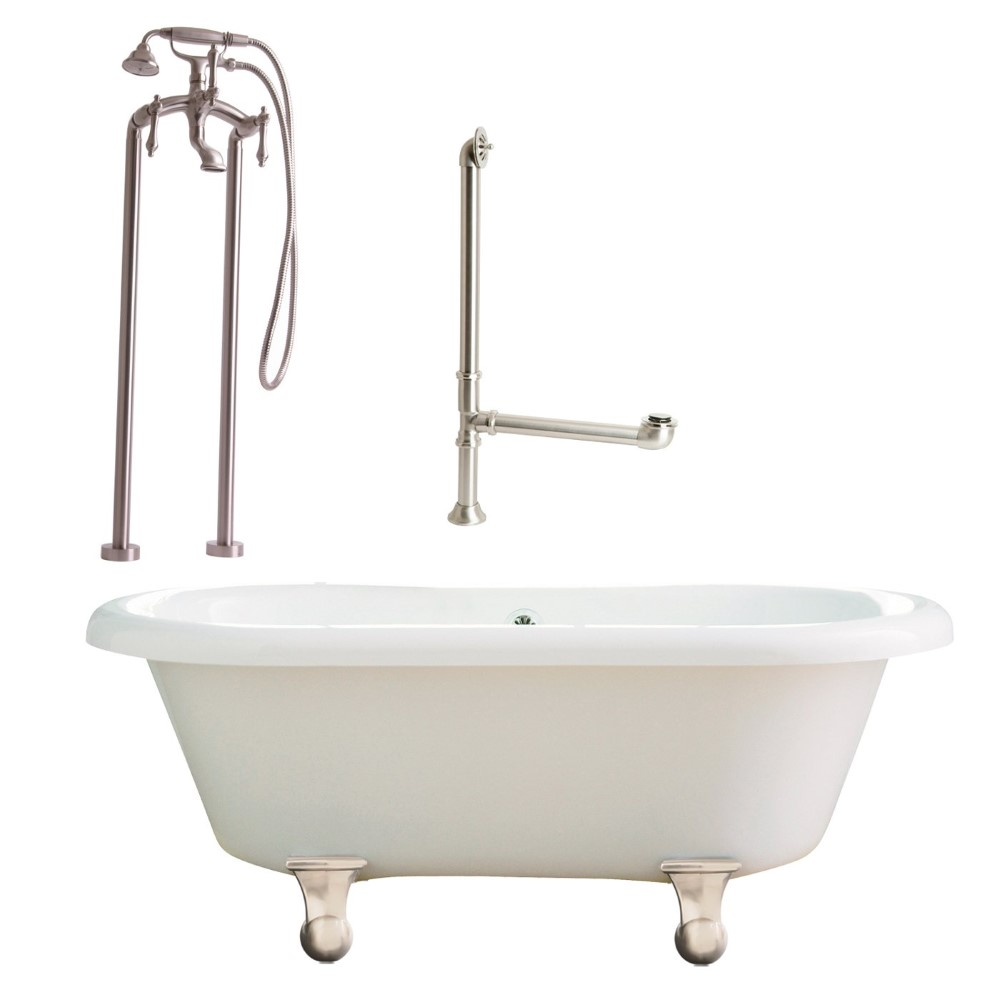 "Giagni LP2-BN Portsmouth 60"" White Dual Tub with Cannonball Feet, Lever Handles, Floor Mount Faucet with Hand Shower, Floor Risers, Drain  and Supply Lines, Brushed Nickel"
