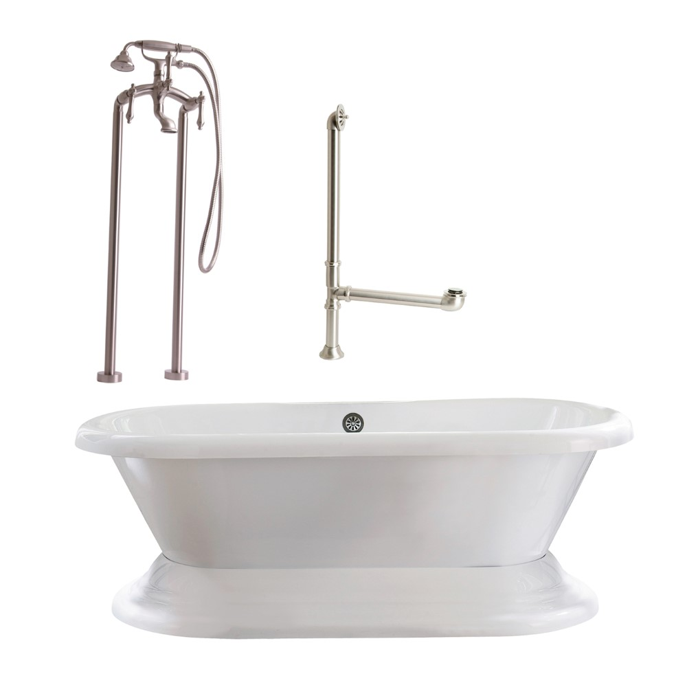 "Giagni LW2-BN Wescott 72"" White Dual Tub with Plinth, Drain, Support Brace and Floor Mount Faucet with Hand Shower and Lever Handles, Brushed Nickel"