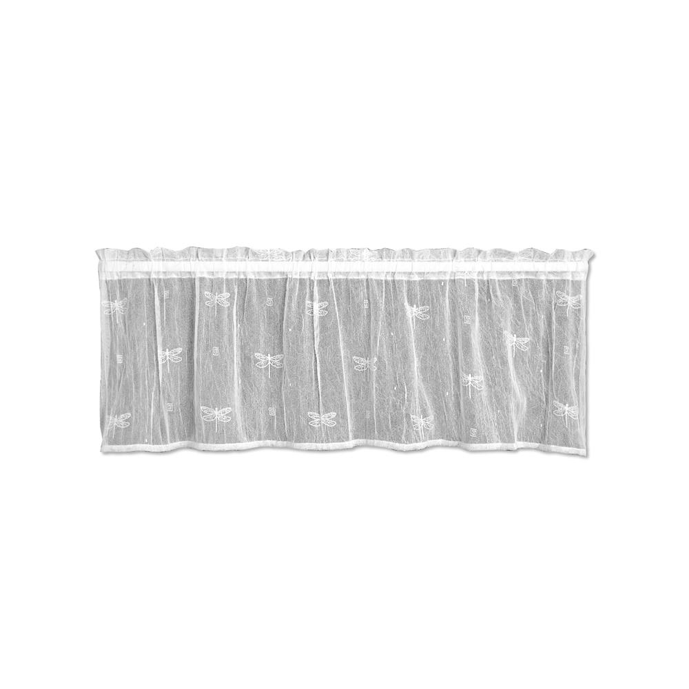 Heritage Lace 7185W-4515 Dragonfly 45X15 Valance, White